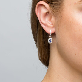 Michael Hill Designer Fashion Earrings with Tanzanite & 0.38 Carat TW of Diamonds in 10kt White Gold