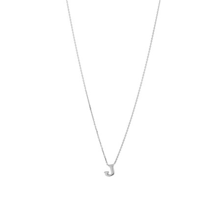 'J' Initial Necklace in Sterling Silver
