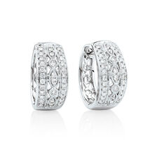 Fancy Huggie Earrings with 0.34 Carat TW of Diamonds in 10kt White Gold