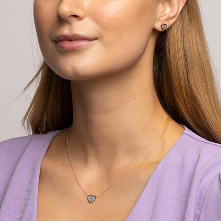Heart Necklace and Glitter Earrings Set in 10kt Yellow Gold