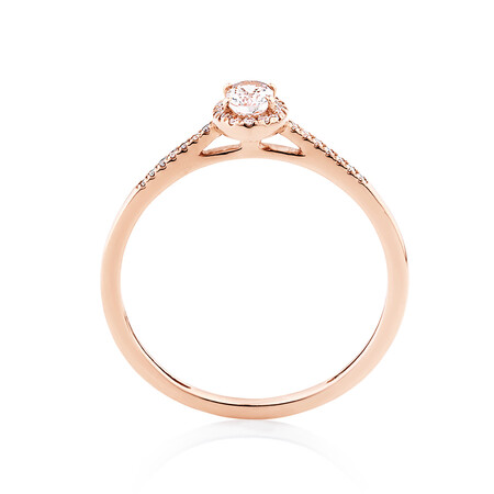 Halo Ring with Diamonds & Morganite in 10kt Rose Gold