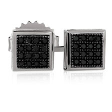 City Lights Stud Earrings with Enhanced Black Diamonds in Sterling Silver