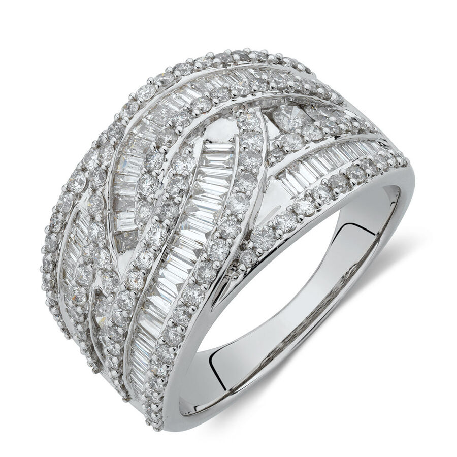 Crossover Ring with 1.75 Carat TW of Diamonds in 14kt White Gold