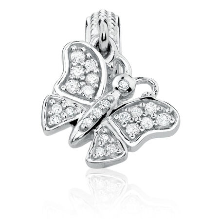 Diamond Set & Sterling Silver Butterfly Charm