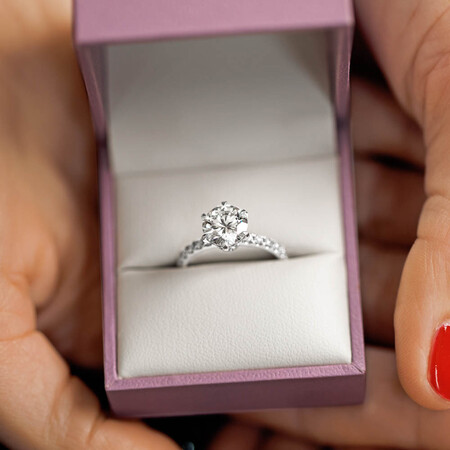 Sir Michael Hill Designer Engagement Ring With 2.52 Carat TW Of Diamonds In 14ct White & Rose Gold