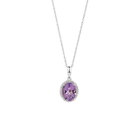 Pendant with Amethyst & Diamonds in 10kt White Gold