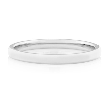 2mm Flat Bevelled Wedding Band in 10kt White Gold