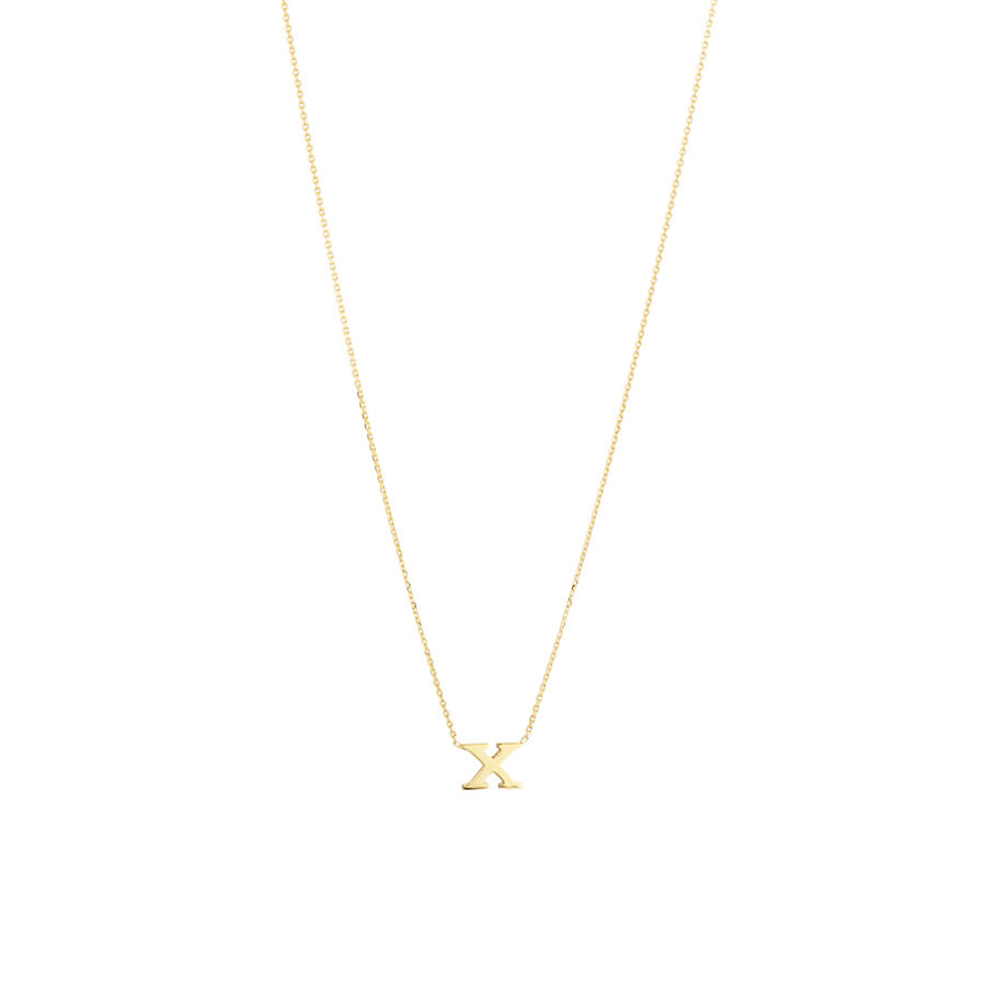 """""""X"""" Initial Necklace in 10kt Yellow Gold"""