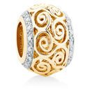 Diamond Set Swirl Charm in 10kt Yellow Gold