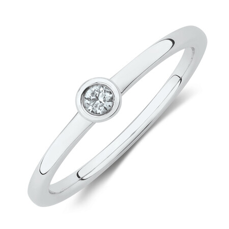 Circle Stacker Ring with Diamonds in Sterling Silver