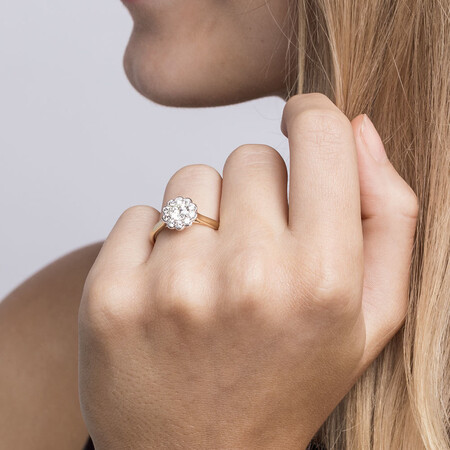 Southern Star Engagement Ring with 1.08 Carat TW of Diamonds in 14kt Yellow & White Gold