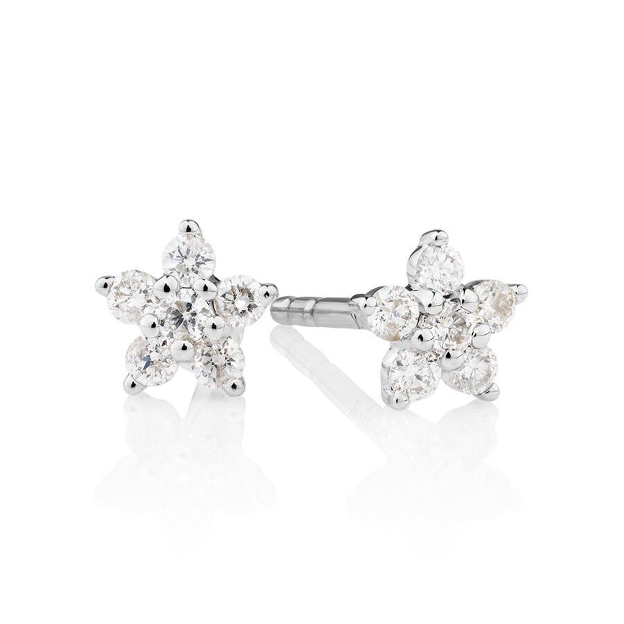 Star Stud Earrings with 0.16 Carat TW of Diamonds in 10kt White Gold