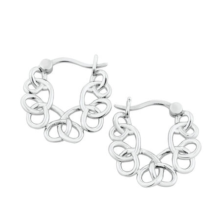 Fancy Loop Hoop Earrings in Sterling Silver
