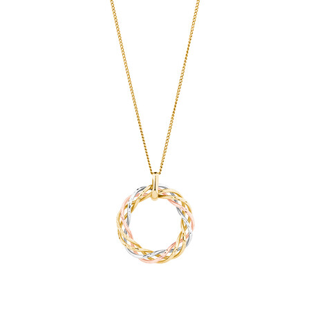 Twist Pendant with 10kt Yellow, White & Rose Gold