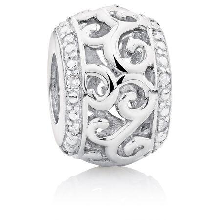 Diamond Set Filigree Scroll Charm in Sterling Silver