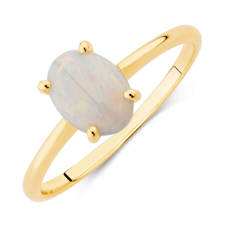 Ring with Natural White Opal in 10kt Yellow Gold