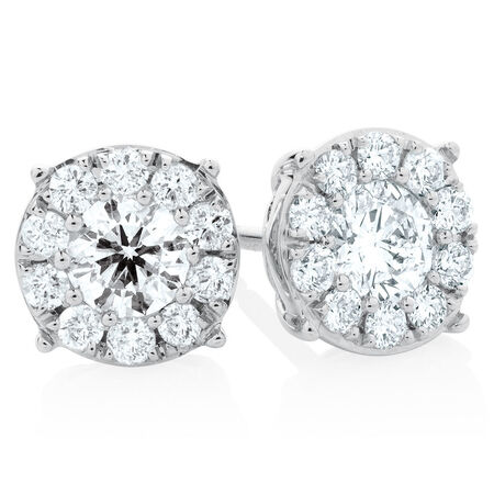 Halo Stud Earrings with 1  Carat TW of Diamonds in 10kt White Gold