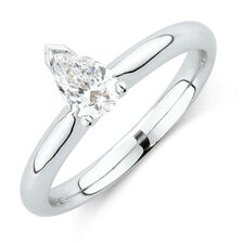 Solitaire Engagement Ring with a 1/2 Carat TW Certified Diamond in 18kt White Gold