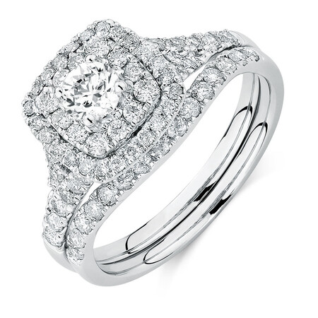 Bridal Set with 1.18 Carat TW of Diamonds in 14kt White Gold