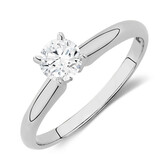 Evermore Solitaire Engagement Ring with 1/2 Carat TW Diamond in 14kt White Gold