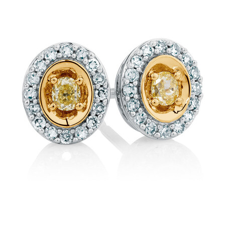 Stud Earrings with 0.30 Carat TW of Diamonds in 10kt Yellow & White Gold
