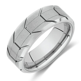 8mm Patterned Ring in White Tungsten