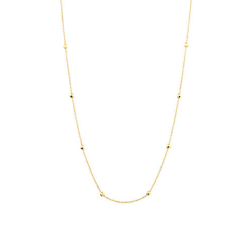 """45cm (18"""") (Adjustable Bead Necklace in 10kt Yellow Gold"""