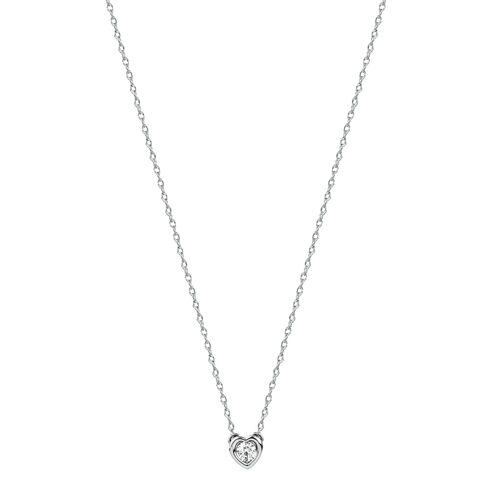Heart Pendant Necklace with Diamonds in Sterling Silver