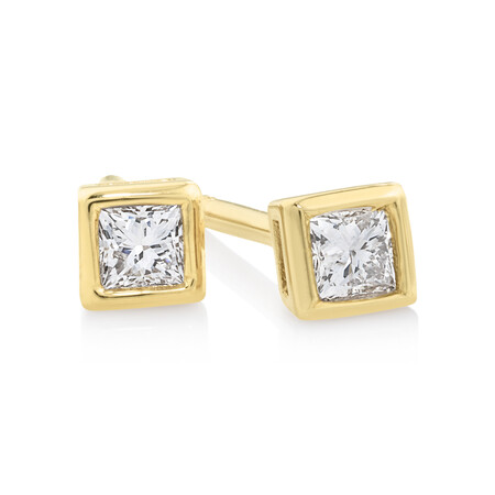 Princess Cut Stud Earrings with 0.14 Carat TW of Diamonds in 10kt Yellow Gold