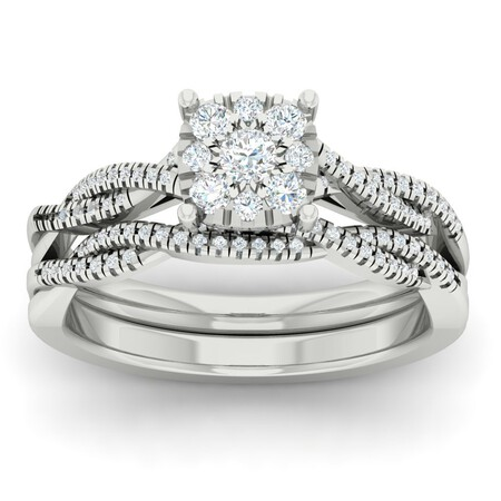 Twist Bridal Set with 0.40 Carat TW of Diamonds in 10kt White Gold