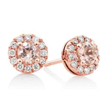 Stud Earrings with Morganite & 1/5 Carat TW of Diamonds in 10kt Rose Gold