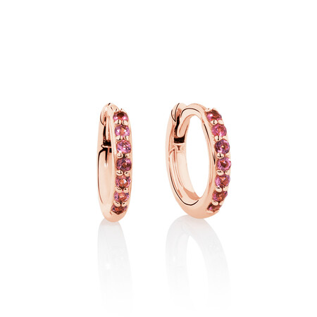 Huggie Earrings with Pink Tourmaline in 10kt Rose Gold