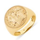 Large Coin Ring in 10kt Yellow Gold