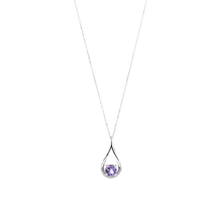 Pear Drop Pendant with Amethyst & Diamonds in 10kt White Gold