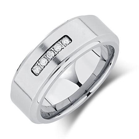 8mm Men's Ring with Enhanced Grey Diamonds in Grey Tungsten