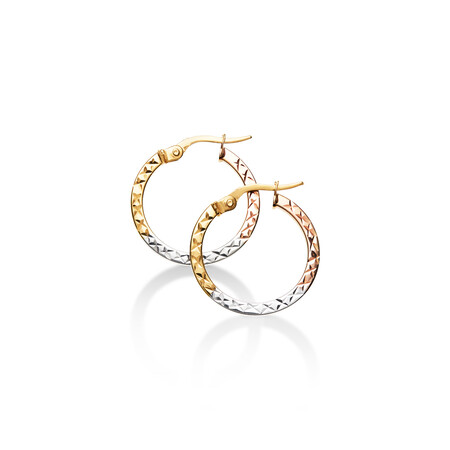Flat Hoop Earrings in 10kt Yellow, White & Rose Gold