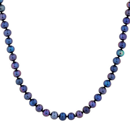 """45cm (18"""") Necklace with Black Cultured Freshwater Pearls in 10kt Yellow Gold"""