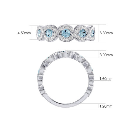Bubble Ring with 1/2 Carat TW of Diamonds & Natural Aquamarine in 14kt White Gold