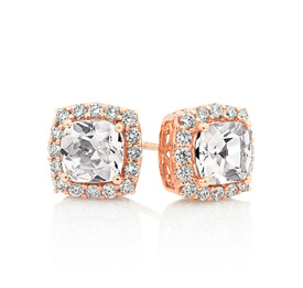 Halo Earrings With Morganite & 0.50 Carat TW Diamonds In 10kt Rose Gold