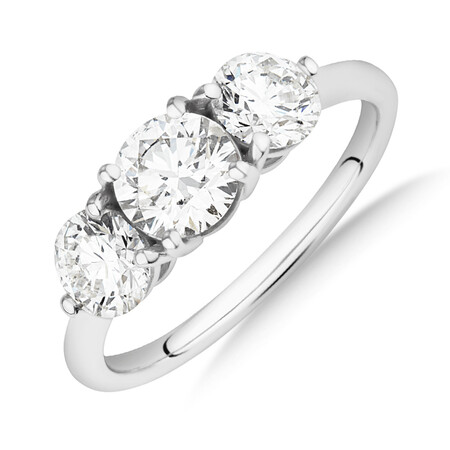 Laboratory-Created 1.70 Carat Oval Three Stone Diamond Ring In 14kt White Gold