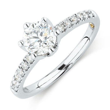 Whitefire Solitaire Engagement Ring With 1.18 Carat TW of Diamonds in 18kt White & 22ct Yellow Gold