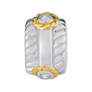 10kt Yellow Gold & Sterling Silver Patterned Charm