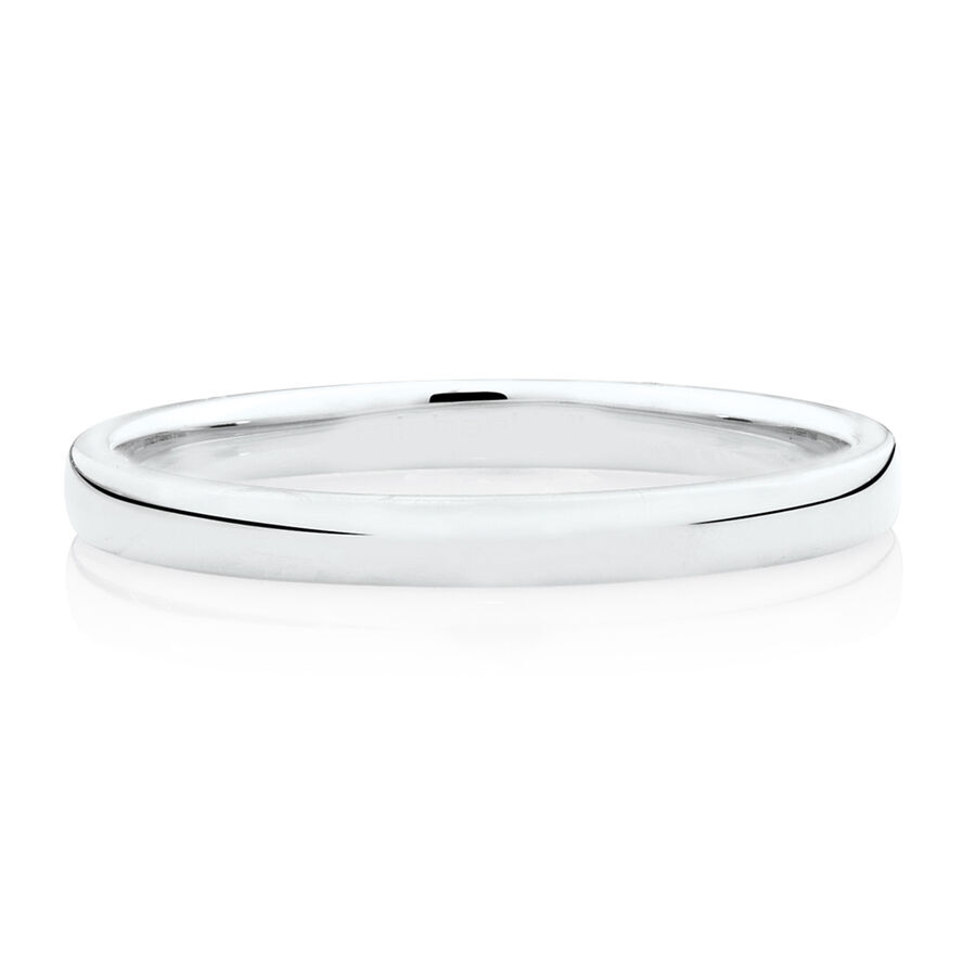 High Domed Wedding Band in 14kt White Gold