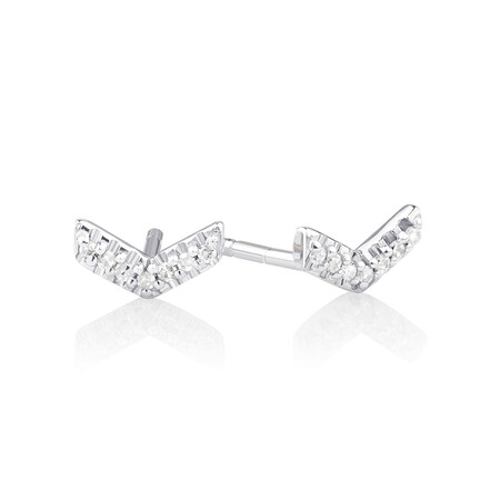 Arrow Stud Earrings with Diamonds in Sterling Silver