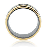7mm Ring with Black Diamonds in Black Titanium & 10kt Yellow Gold