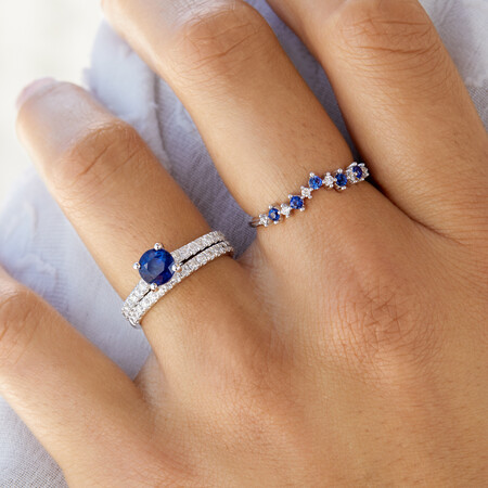 Ring with Created Blue Sapphire & Diamonds in 10kt White Gold