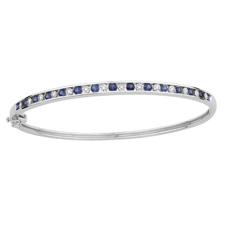 Bangle with Created Sapphire & Diamonds in Sterling Silver