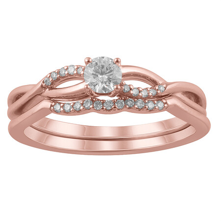 Twist Bridal Set with 0.25 Carat TW of Diamonds in 14kt Rose Gold