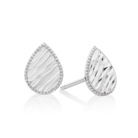 Patterned Pear Studs in 10kt White Gold