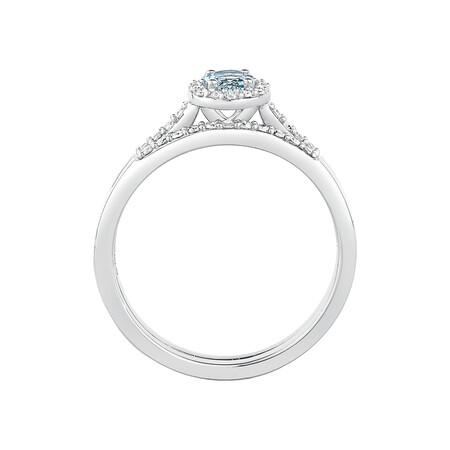 Evermore Bridal Set with Aquamarine & 0.20 Carat TW of Diamonds in 10kt White Gold